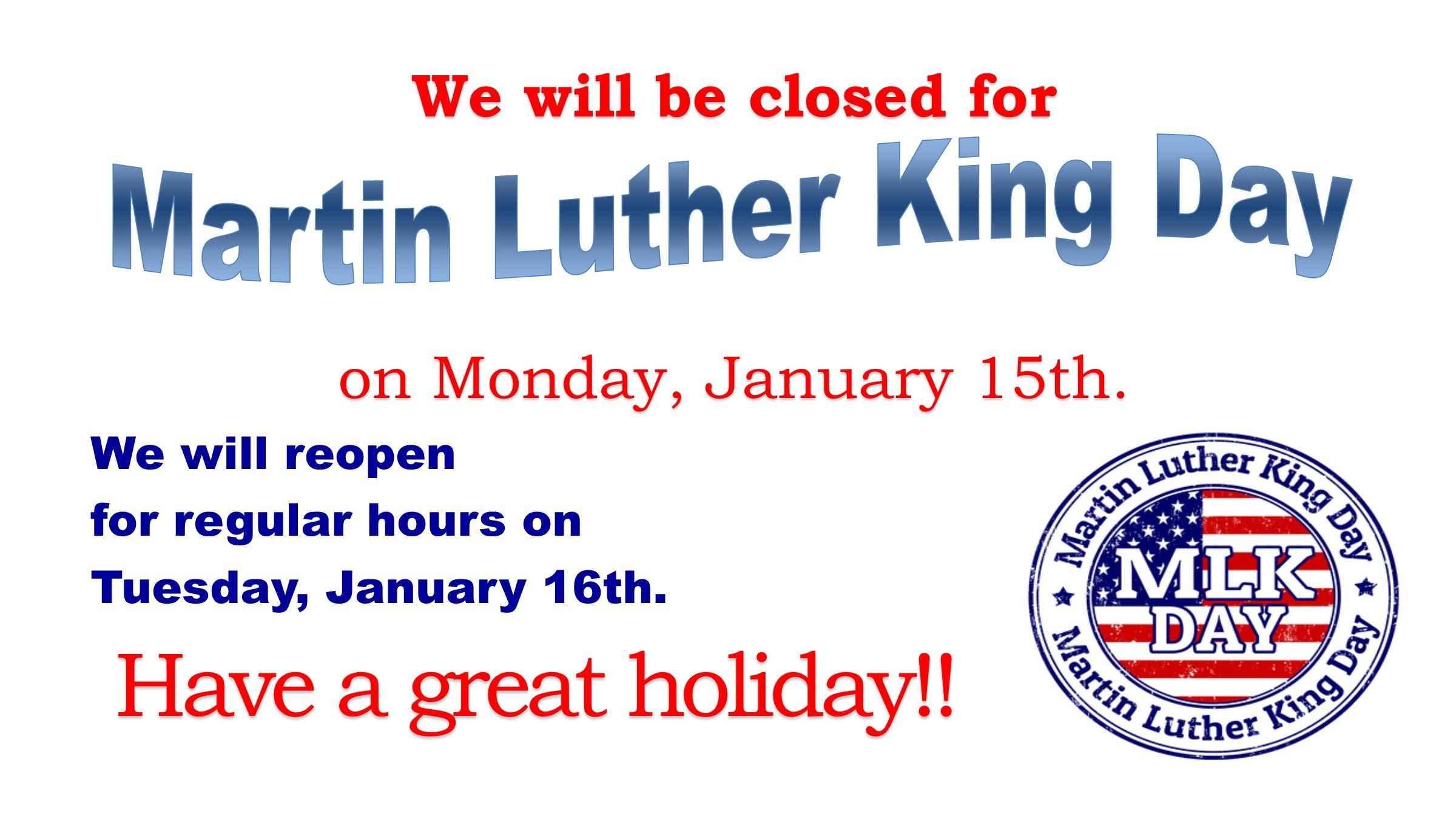 Closed Martin Luther King Day TV