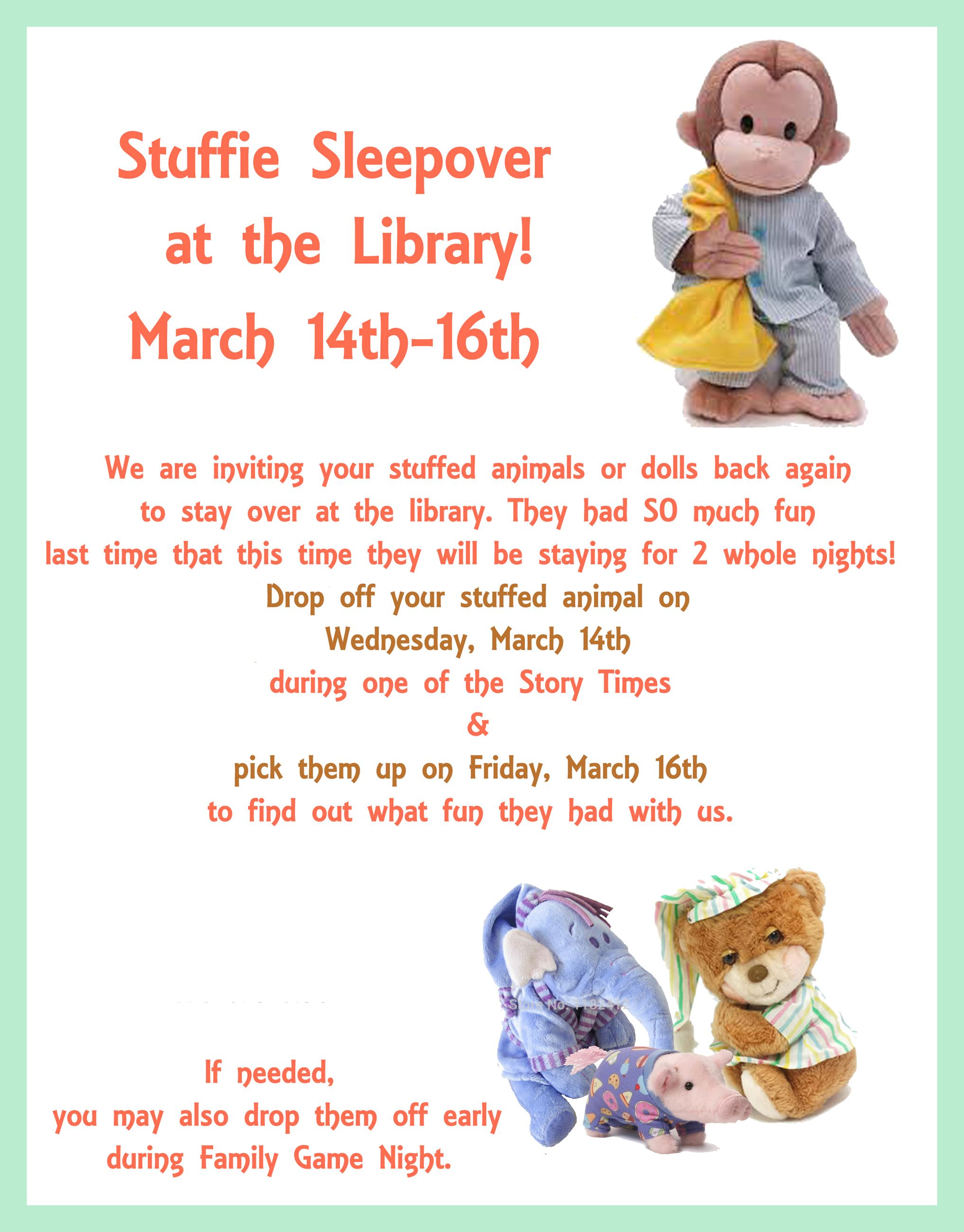 March Stuffie Sleepover
