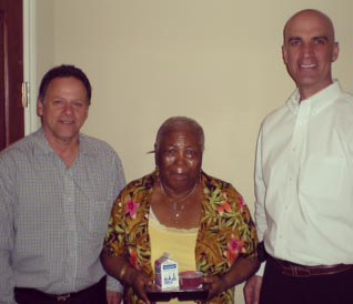 l to r  Mayor Felix, Ivy, and City Manager Billy George