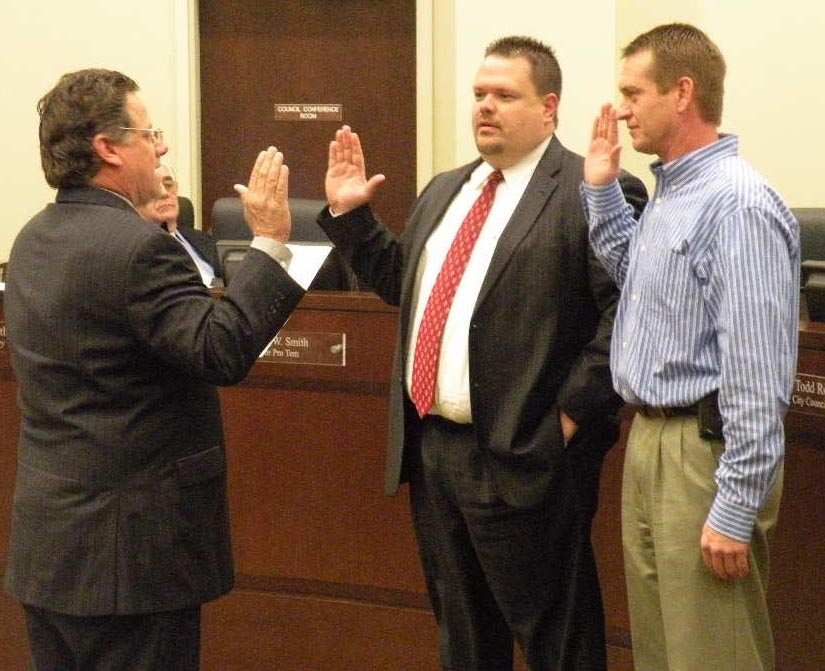 TIF Board members Jeff Dowdle and Troy Riner take the Oath of Office