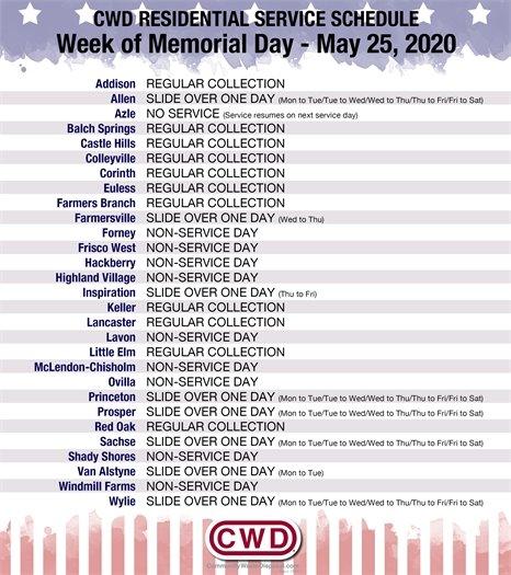 CWD Memorial Day