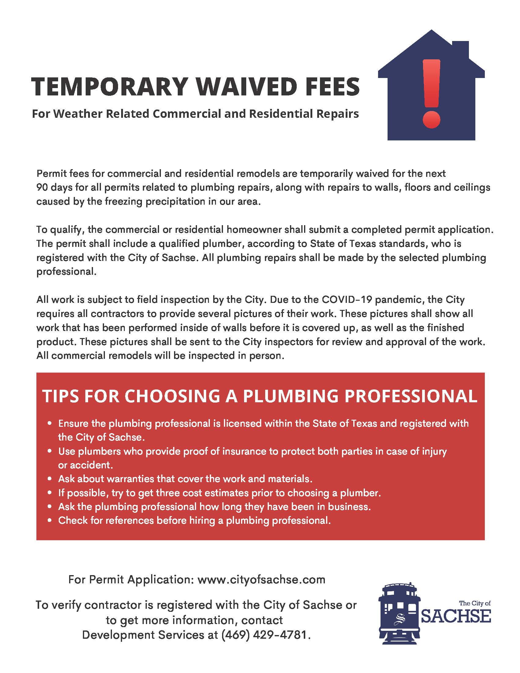 Temporary Permit Fee Waived
